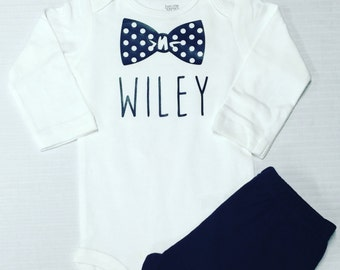 Baby Onesie Short Sleeve Personalized Bow Tie Monogram