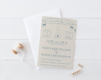 Wedding Invitation Set - Perfect Chemistry - Printed Invitations + RSVP Card Sets, Science Wedding Invitation Sets