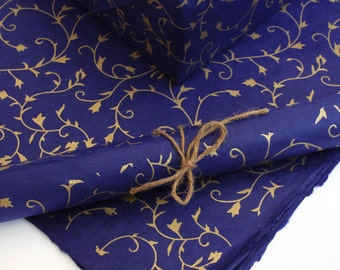 Lokta Wrapping Paper, Gold Floral on Cornflower Blue, Hand made and Fair Trade