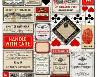 20+ VINTAGE LABELS - Graphic Black, White and RED, Hearts, Clubs, Spades, Diamonds - Instant Printable Digital Collage Sheet