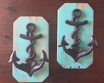 Anchor~Set of 2~Towel Hooks~Coat Hooks~Nautical~Towel Holder~Coat Rack~Wall Hooks~FREE SHIPPING