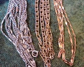3 1980's Gold Plated Extra Long Chains Different Styles