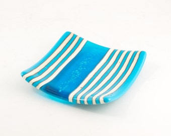 Turquoise and White Kitchen Decor, Striped Plate, Fused Glass, Candle Dish, Unique Trinket Tray, Beach Decor Ideas, Cool Gifts for Weddings