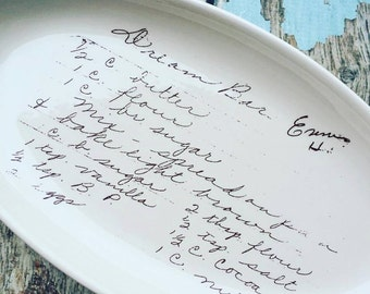 Custom recipe on plate, Customized handwriting on plate, recipe display, holiday gift, custom holiday gift for chef, grandparents gift,