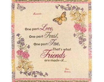 Personalized What Friends Are Made of Cotton Throw