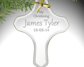 Customized My Christening Glass Cross Ornament