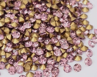 Wholesale 1440pc Machine Cut Pointed back Foil Rhinestone 3mm PaleVioletRed-7596f