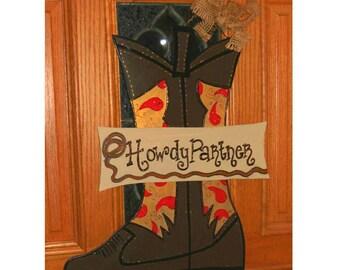 Cowboy Boot Wood Door Hanger