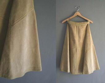 "70s Beige Suede Midi Skirt 24"""