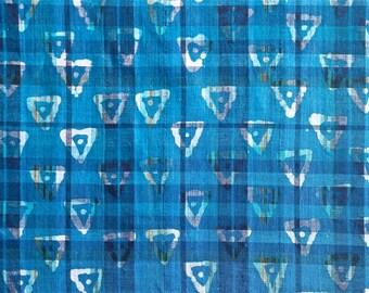 Blue Batik Madras Type Fabric 1 yd x 44 in