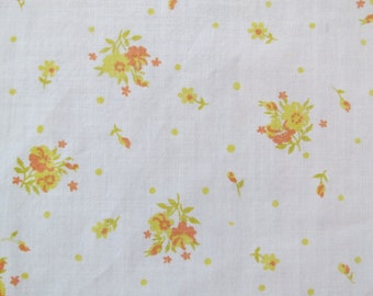 One Yard of Vintage Sheet Fabric  - Orange Yellow Floral