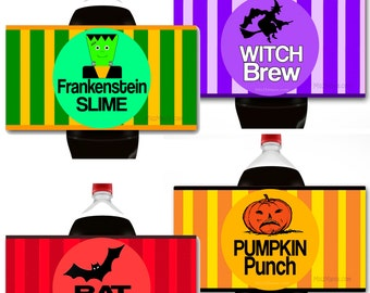 Halloween Soft Drink Labels. Halloween Party Decals. Halloween Drink Labels. Halloween Decor. Halloween Stickers. Soda Labels