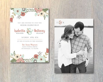 Floral Wedding Invitations Printed Wedding Invitations Rustic Wedding Invitation Card Floral Invitation Cards Floral Invitation Printable