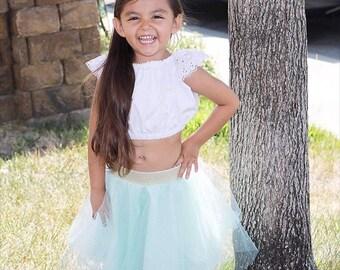 Aqua Tulle Skirt