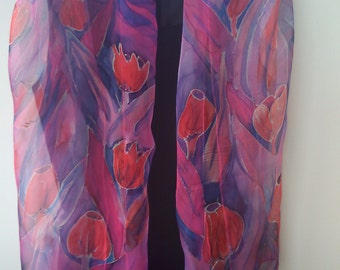 Had Painted Art Scarf. Blue and Magenta Chiffon Scarf for Her. Tulips Hand Painted Long 18 x 71 Art Scarf. Transparent Chiffon  Silk Scarf