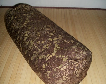 "Bolster Pillow. Meditation Prop. Home Decor Pillow.  Brown and avocado/olive batik Cover and UNFILLED insert.  Zippered. 15"" x 5"". USA made"