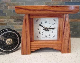 Mantel Clock, Bungalow Clock, Craftsman Clock, Ebiara Wood, Clock, Red Zebra Wood, Mantle Clock, Desk Clock
