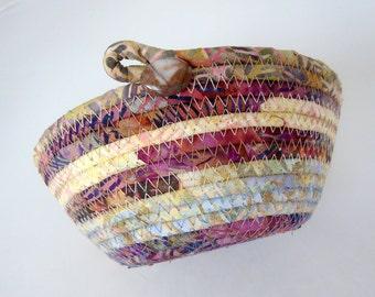 Coiled Rope Basket, Fabric Basket, Handmade Earth Batik