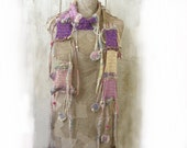 Pastel Boho knit scarf , Art Hand knitted cotton , Bohemian clothing , flowers hippie , Gypsy women shawl , felt , OOAK , Freestyle , rope