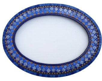 Blue and Copper Mosaic Wall Mirror, Oval Mirror, Wall Art, Mixed Materials