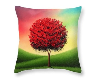 Tree Art Pillow, Colorful Accent Pillow, Multicolored Living Room Decor, Decorative Pillow Nature Art, Interior Design, Red Tree Cushion