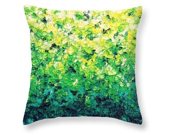 Green Accent Pillow, Yellow and Green Decorative Pillow, Abstract Art Decor, Impressionist Art Pillow, Throw Pillow, Designer Couch Cushion