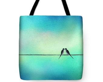 Love Birds Tote Bag, Kissing Birds on a Wire Art Bag, Yoga Bag, Canvas Tote, Bridesmaid Gift, Bookbag, Handbag, Pastel School Bag, Purse