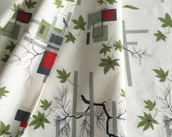 Set of Four Vintage MCM Geometric and Tree Leaf Pattern Curtain Drapery Panels or Vintage Fabric for Upholstery