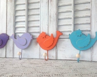 Whimsy Wooden Bird Wall Hooks - Set of 4 - Children's Room - Nursery