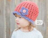 PDF Crochet Pattern Lydia Cloche Spring/Summer hat with flower Baby Child Pre-teen sizes