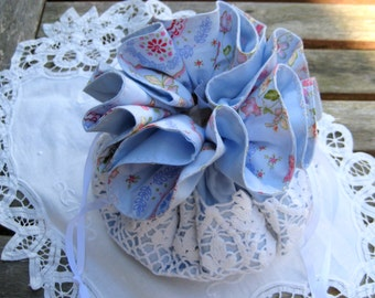 Flower Girl purse, Sale priced first communion bag, Blue floral cotton, vintage doily bottom and ribbon draw string, girls handbag, wedding