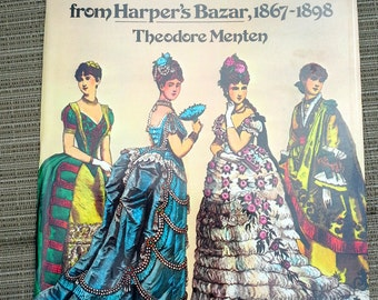 Victorian Fashion Paper Dolls, Vintage book by Theodore Menten, Harper's Bazar 1867-1898, mint condition for children or collectors