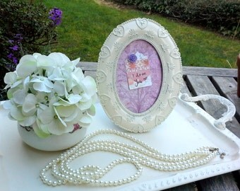 Vintage Ornate Frame, painted antique white with a magnetic insert and decoupaged floral image, with easel back and magnet