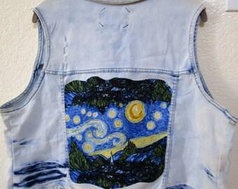 Upcycled Tie Dye Distressed Stretch Denim Vest 2X Starry Night
