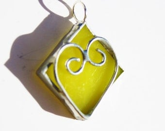 Stained Glass Heart Pendant, Bridesmaid Gift, Necklace with Yellow Heart, Valentine, Made in the USA
