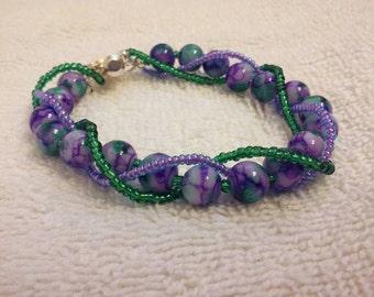 Purple Green White Watercolor Beaded Bracelet