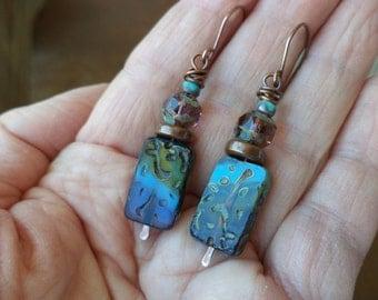 Turquoise Green Oxidized Copper Dangle Drop Earrings Colorful Earrings