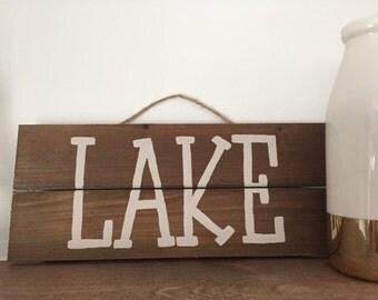 Lake Hanging Sign