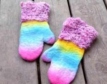 Kids gloves Kids mittens Alpaca gloves Felt gloves Girls mittens Rainbow Felted mittens Christmas gift Wool gloves Girls gloves