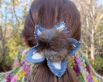 Pompom pony holder Recycled fur Gift for her Denim pony holder Denim hair tie pompom hair tie Eco hair accessory Winter hair Kids hair tie