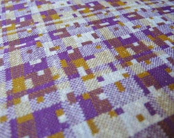 Vintage 1960s double knit polyester fabric purple plaid 1 yard 33 inches 64 inches wide