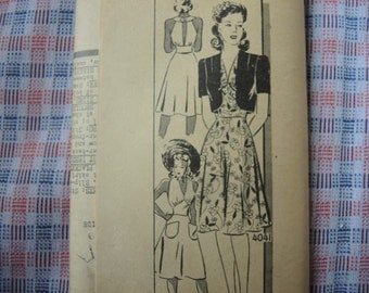 vintage 1940s Anne Adams sewing pattern 4041 UNCUT dress and bolero size 18 bust 36