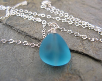 Aqua Sea Glass Sterling Silver Necklace Beachy Boho Beach Glass