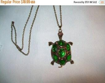 50% OFF Green rhinestone turtle pendant necklace, vintage necklace, turtle pendant