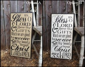 Bless us O Lord & These Thy Gift which we are about to Receive through Christ our Lord Amen Christian Sign Routed Edge TWO OPTIONS 12x24