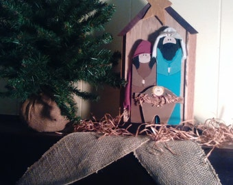 Primitive Holy Family Nativity Scene Christmas Reclaimed Wood Nativity Manger