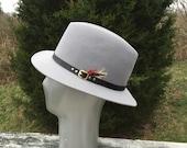 Mens Hat Grey Gray Hat Fedora Formal Hat Hats