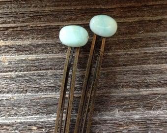 Blue Opal Hair Pins Large Blue Bobby Pins Opal Gemstone Hair Pins Wedding Bridal Hair Pins