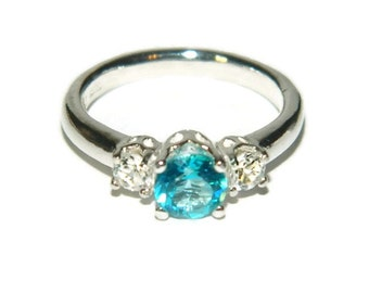 Three Stone Ring, Genuine Blue Topaz, Sterling Silver Promise Ring, Past Present Future Ring