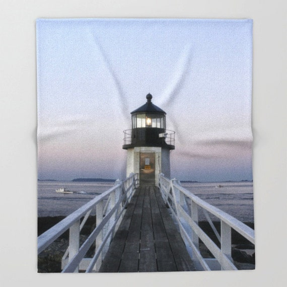 Fleece Throw Blanket, Throw Blanket, Marshall Point Lighthouse, Photo Throw Blanket, Home Decor, Bedding, Sherpa Throw, Photography